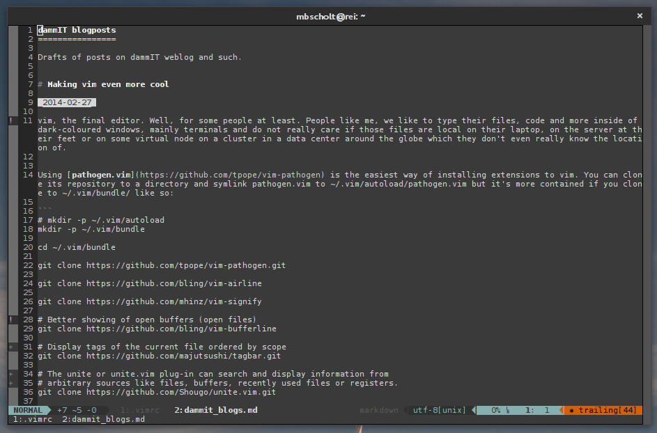 Screenshot of vim with this article