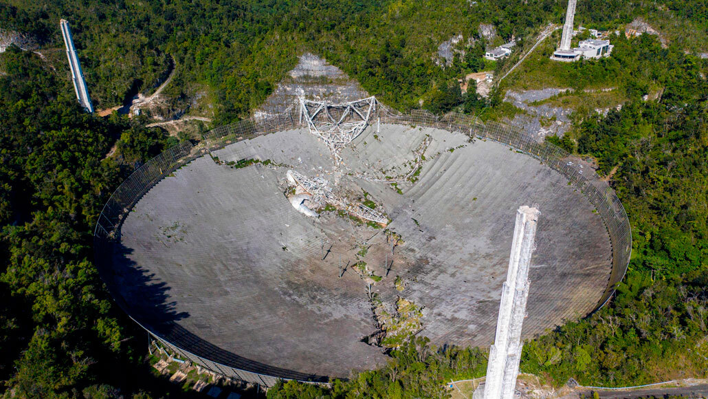 Collapsed Arecibo Telescope remains